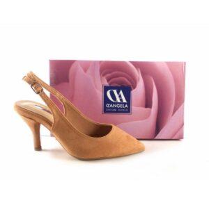 Zapatos punta fina y tacón bajo D'Angela color maquillaje