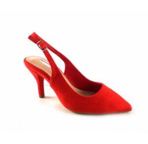 Zapatos punta fina y tacón bajo D'Angela color rojo