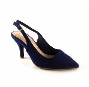 Zapatos punta fina y tacón bajo D'Angela color azul marino