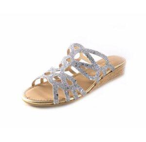 Sandalias tipo zueco Viguera en glitter plata de cuña baja