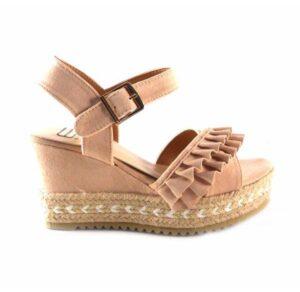 Sandalias de cuña alta E.Ferri con volantes color rosa