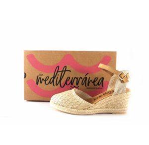 Zapatillas de esparto CM Mediterránea color dorado con pulsera