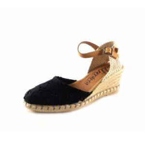 Zapatillas de esparto CM Mediterránea flores color negro