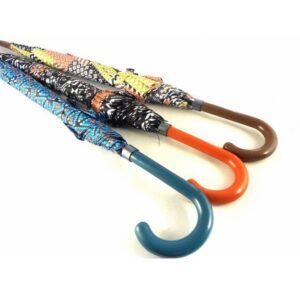 Paraguas largo mujer Bisetti color marrón, azul y naranja
