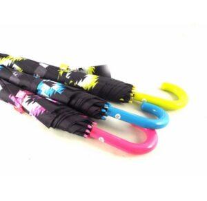Paraguas largo para mujer Bisetti color rosa, azul y amarillo
