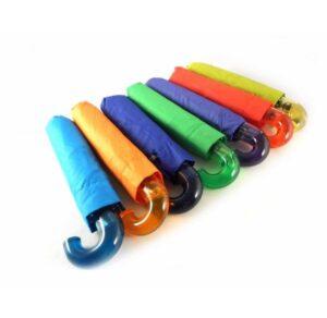 Paraguas plegable Bisetti color morado, azul, verde, naranja y rojo