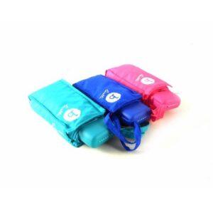 Paraguas plegable color azul turquesa, azul marino y rosa