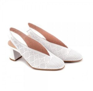 Zapatos de tacón en piel D'Chicas destalonado color blanco