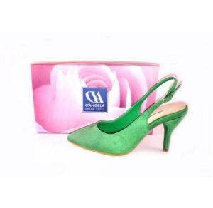 Zapatos punta fina y tacón bajo D'Angela color verde hoja