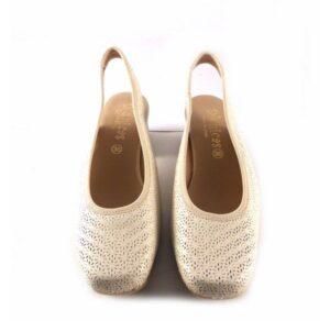Zapatos de tacón en piel D'chicas destalonados color beige con picado