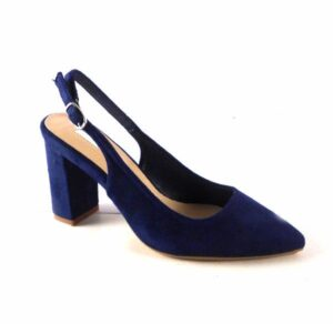 Zapatos punta fina y tacón ancho D'Angela Shoes color azul marino