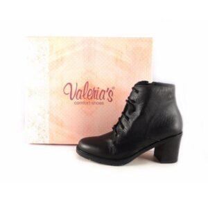 Botines piel mujer confort Valeria's tacón bajo en goma color negro