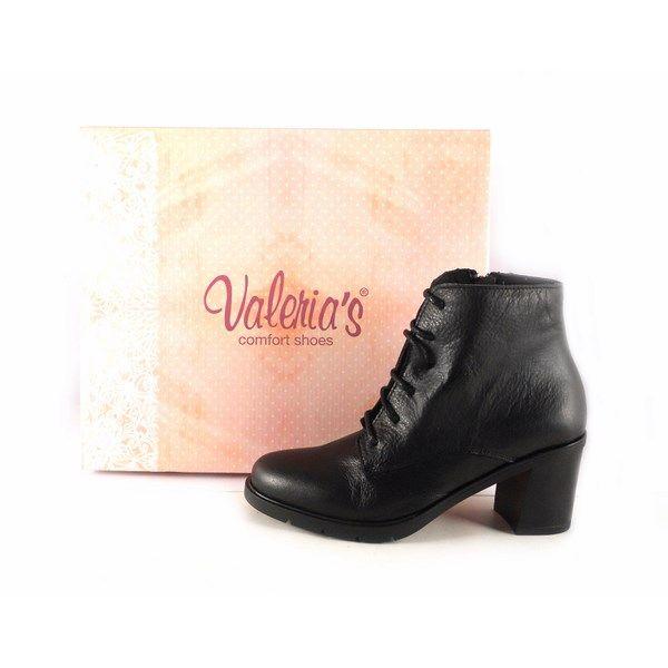 venta caliente real estilos de moda marca famosa Botines piel mujer confort Valeria's tacón bajo en goma color negro
