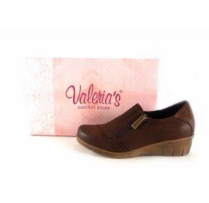 Zapatos de piel cómodos para mujer Valeria's color marrón con cierre de cremallera
