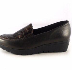 Zapatos piel confort Valeria's plantilla extraíble y cuña baja marrón coco