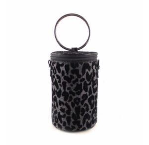 Bolso cilindro para fiesta o noche E.Ferri print glitter plata vieja y negro