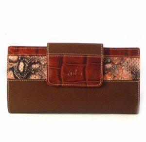 Cartera billetera mujer piel de calidad Nilo grande marrón combinada