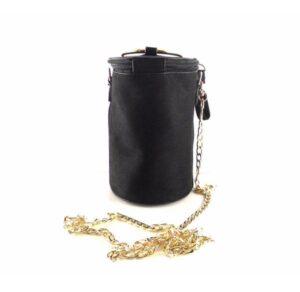 Bolso fiesta o cóctel con asa metálica E.Ferri negro con dorado