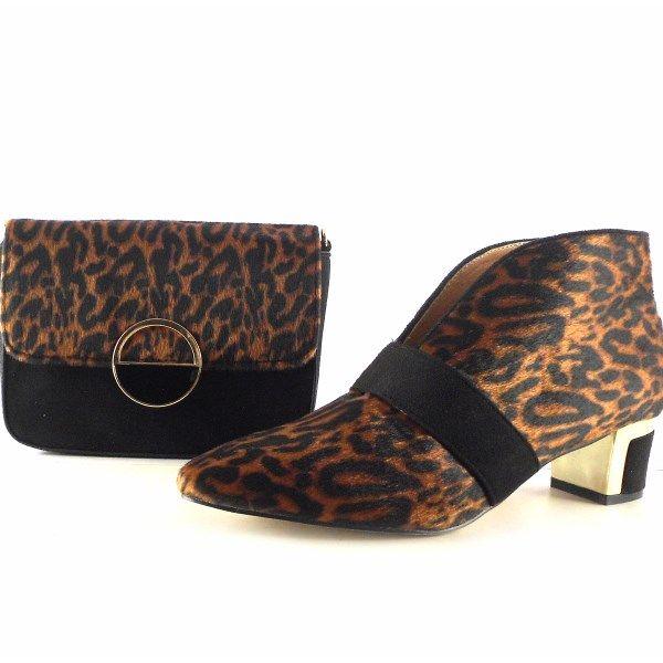 Botines para mujer E.Ferri leopardo print con apertura delantera