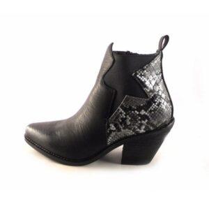 Botines mujer tipo cowboy E.Ferri Z604 negro con serpiente print