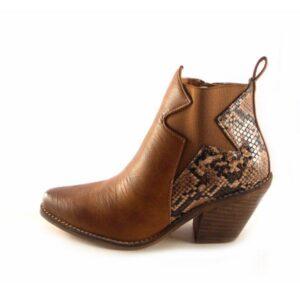 Botines mujer tipo cowboy E.Ferri Z604 cuero con serpiente print