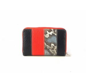 Billetera para mujer pequeña en piel Nilo serpiente print con monedero de cremallera