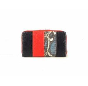 Billetera para mujer mediana en piel Nilo serpiente print con monedero de cremallera