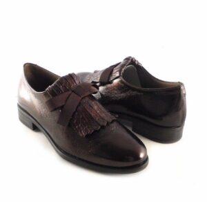 Zapatos planos piel mujer NATURE print marrón con antifaz 3995