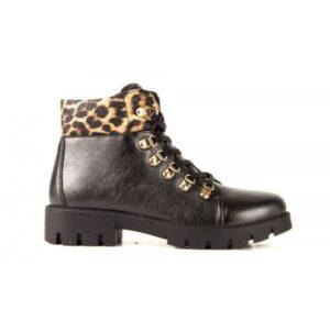 Botines para mujer BREAK&WALK negro con leopardo print