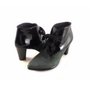 Botines para mujer de vestir con tacón Pasther piel serraje verde musgo/charol negro
