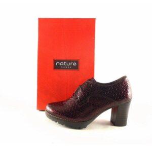 Zapatos de tacón abotinados con cordones Nature color burdeos