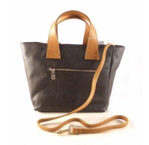 Bolso de mano tipo cesta en piel auténtica con bandolera marrón