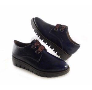 Zapatos blucher para mujer Nature azul marino con cuña