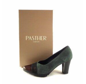 Zapatos de salón con tacón Pasther en piel serraje verde musgo/charol burdeos