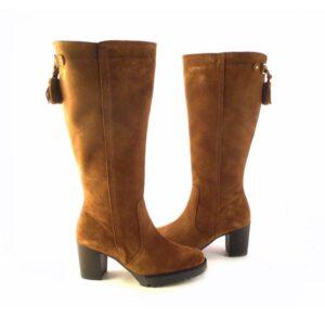 Botas altas en piel serraje color cuero con tacón y plataforma