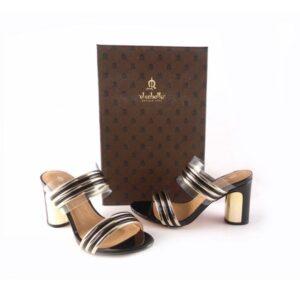 Sandalias de tiras tipo zuecos El Caballo – E.Ferri negro con oro