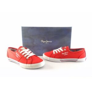 Zapatillas mujer lona PEPE JEANS Aberlady Basic color rojo