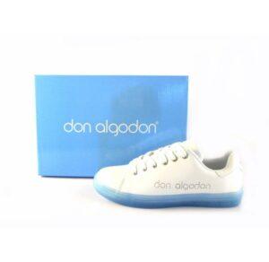 Zapatillas deportivas DON ALGODON tipo tenis blanco con suela azul