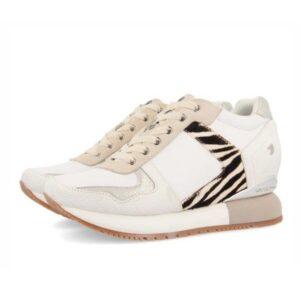 Sneakers mujer GIOSEPPO Meerut blancas con detalle de cebra y cuña interior
