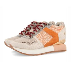 Sneakers mujer GIOSEPPO Theux beige con detalles naranjas y cuña interna