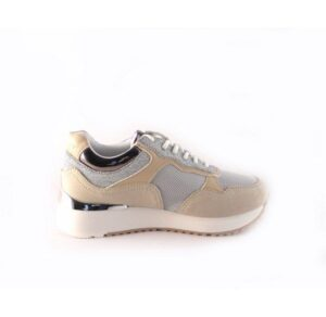 Zapatillas deportivas DON ALGODON beige con glitter plata