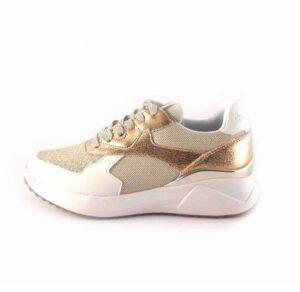 Zapatillas deportivas DON ALGODON con cordones en blanco con oro rejilla