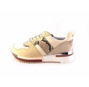 Zapatillas deportivas DON ALGODON beige con serpiente print y rosa metalizado
