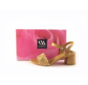 Sandalias de tacón medio D'Angela Shoes rafia camel