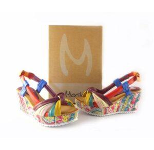 Sandalias de cuña alta tejido étnico MARILA SHOES piel multicolor