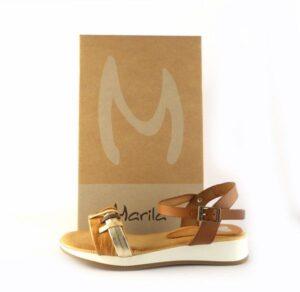 Sandalia plana para mujer en piel MARILA SHOES cuero combinado