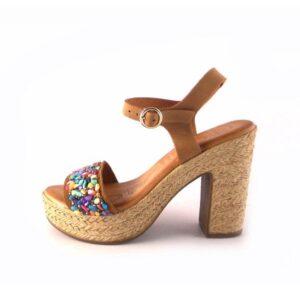 Sandalias tacón con pulsera al tobillo en piel CHIKA10 Bevel 04 cuero con pedrería