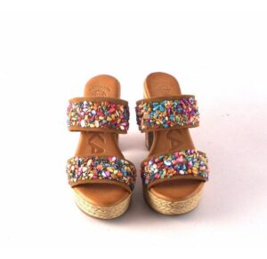 Sandalias de tacón alto en piel CHIKA10 Bevel 05 cuero con pedrería