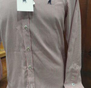 Camisa hombre LA JACA de rayas a dos tonos rojo