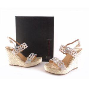 Sandalias de cuña trenzada E.Ferri oro glitter